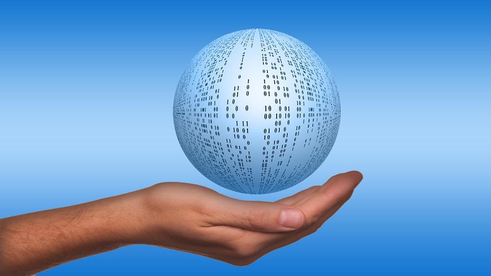 communication globe in hand